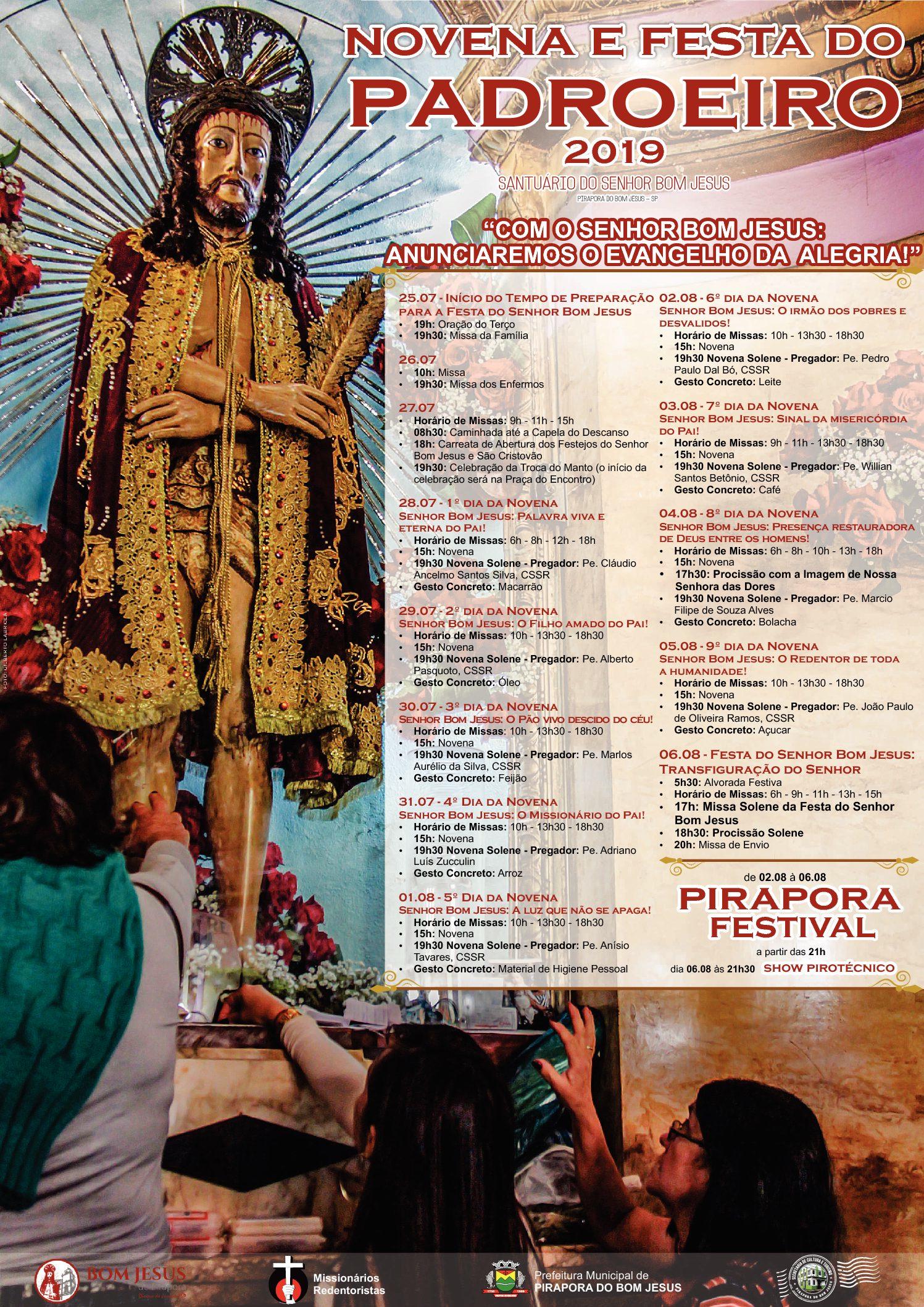 PROGRAMAÇÃO DA FESTA DO SENHOR BOM JESUS – 2019