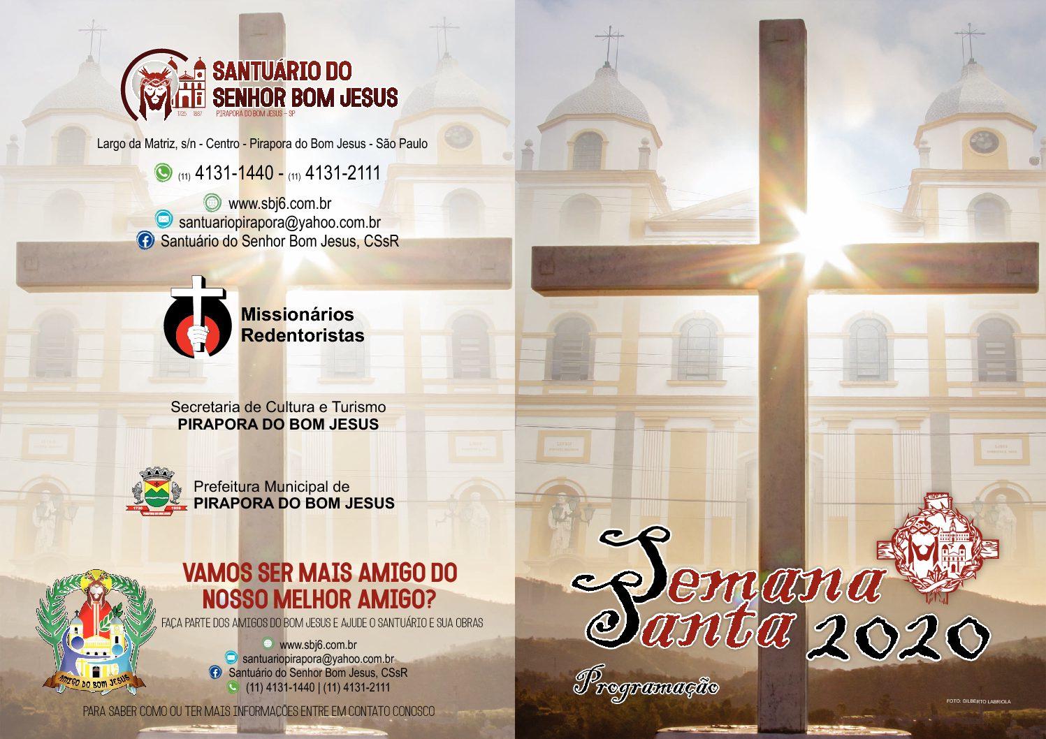 SEMANA SANTA 2020 – SANTUÁRIO DO SENHOR BOM JESUS
